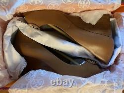 NIB TORY BURCH Claire 65MM Peep Toe Leather Wedge Pump TAN Women shoes Size 8M