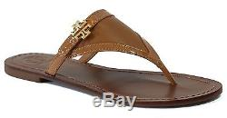 NIB TORY BURCH Eloise Patent Leather Flat Thong Sandal, Brown Size 8