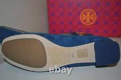 NIB TORY BURCH GIGI Block Logo Heel Pump Shoe Gold Logo Suede Symphony Blue 10