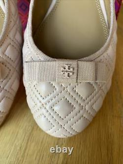 NIB TORY BURCH MARION QUILTED BALLET FLAT SHOES Seashell Pink LEATHER Size 10