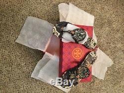 NIB TORY BURCH MILLER Sandals Flip Flops Navy Happy Times Floral Leather-Sz8.5