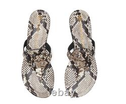NIB TORY BURCH Miller Flip Flop Sandals Shoes Leather Roccia Stamped Snake Sz 6