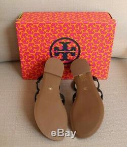 NIB TORY BURCH PHOEBE Flat Thong Sandals Black Size 8 Leather