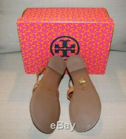 NIB TORY BURCH PHOEBE Flat Thong Sandals Royal Tan Size 8 Leather
