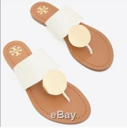 NIB TORY BURCH Patos Disk Sandals in Ivory /Gold size 8 Flats Shoes