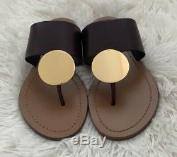 NIB TORY BURCH Patos Disk Sandals in Malbec /Gold size 6 Flats Shoes