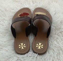 NIB TORY BURCH Patos Disk Sandals in Malbec /Gold size 7.5 Flats Shoes