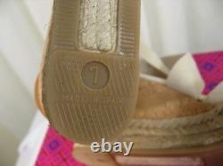 NIB TORY BURCH Peep Toe Ivory Canvas Platform Cork Wedge Sandal Shoes Size 7 NEW