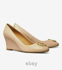 NIB Tory Burch 2.6 Chelsea Wedge Pumps Shoes Goan Sand Beige Gold
