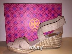 NIB Tory Burch ADONIS Sandal Wedge Shoe Khaki / Gold US 9 B
