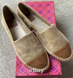 NIB Tory Burch Alder Tan Suede Leather Flats Espadrilles Shoes Size 8.5 M