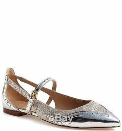 NIB Tory Burch Bernadette Flat- Silver Metallic Size 10