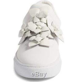 NIB Tory Burch Blossom Floral Logo Skate Sneaker Flat Shoe White Leather Women 9