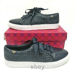 NIB Tory Burch Bryant Quilted Leather Sneakers Shoes Gold Logo Size 8.5 M Navy