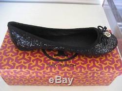 NIB Tory Burch Chelsea Black Glitter Ballet Flats Shoes Logo Size 8