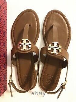 NIB Tory Burch Claire Flat Thong Sandal Veg Leather Shoes Royal Tan/Gold 8