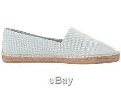 NIB Tory Burch Color Block Flat Espadrilles Shoes Seltzer Gray 8 M