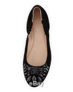 NIB Tory Burch Delphine Ballet Royal Suede Flat Shoes Black Size 7.5