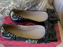 NIB Tory Burch Divine Bow Leather Ballet Flat Women Shoes Size 6 Black Authentic