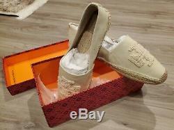 NIB Tory Burch ELISA Logo Natural / Ivory Cream Espadrille Flat Shoe Sz 10