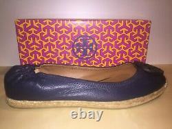 NIB Tory Burch Espadrille Joy Tumbled Navy Flat Shoe Leather US Size 9