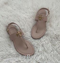 NIB Tory Burch Everly T-Strap Sea Shell Pink Flat Sandal Size 8