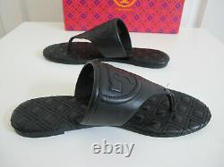 NIB Tory Burch Fleming Quilted Thong Sandals Shoes Black Slippers sz 6