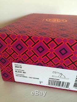 NIB Tory Burch Gigi Flat calf Leather flats Sandals Shoes Sz. 7 Black