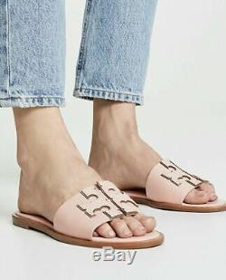 NIB Tory Burch Ines Leather Slide Sandals shoes in seashell pink Size 8