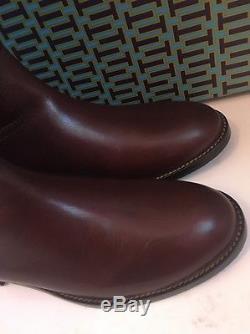 NIB Tory Burch Kiernan Almond Brown Gold Leather Riding Boots Tall Sz 8