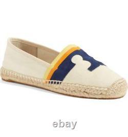 NIB Tory Burch LAGUNA Espadrille Flat Shoes Loafer Espadrille Natural Multi 9.5