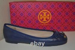NIB Tory Burch LAILA Driver Ballet Flat Shoe Navy Sea Leather Sz 5.5 Bow & Logo