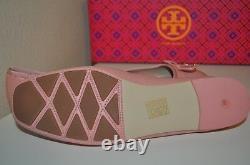 NIB Tory Burch LAILA Driver Ballet Flat Shoe RETRO PINK Leather Sz 9 Bow & Logo