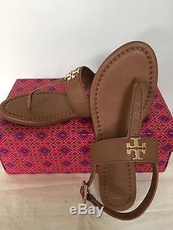 NIB Tory Burch Laura Flat Sandal Tumbled Leather, Royal Tan, Size 7, 7.5