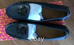 NIB Tory Burch Lowell 2 Driver Tumbled Leather Flat Loafer Shoes Size 9.5 Black