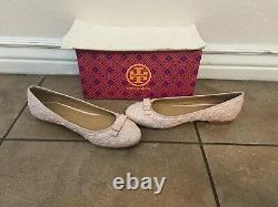 NIB! Tory Burch Marion Quilted Leather Bow Ballet Flat Shoes Seashell Pink 8