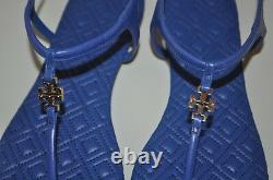 NIB Tory Burch Marion Quilted Sandal Hudson Blue Leather Thong Flat shoe Sz 11