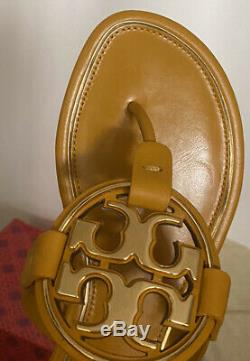 NIB Tory Burch Metal Miller Sandals Shoes GOLDEN ROD 7 M
