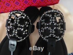 NIB Tory Burch Miller Embellished Crystal Stud Leather Sandal Black 6.5 $228