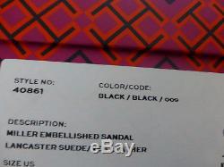 NIB Tory Burch Miller Embellished Crystal Stud Leather Sandal Black 7.5 $228