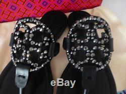 NIB Tory Burch Miller Embellished Crystal Stud Leather Sandal Black 8.5 $228