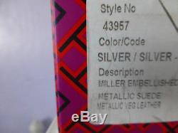 NIB Tory Burch Miller Embellished Crystal Stud Leather Sandal Silver 7 $228