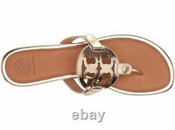 NIB Tory Burch Miller Flip Flop Sandals Shoes ROSE GOLD TAN