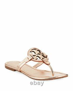 NIB Tory Burch Miller Flip Flop Sandals Shoes Rose Gold