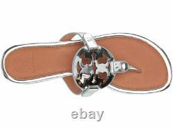 NIB Tory Burch Miller Flip Flop Sandals Shoes Silver Tan
