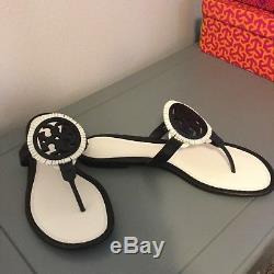 NIB Tory Burch Miller Fringe Sandal Black/Bleach size 9