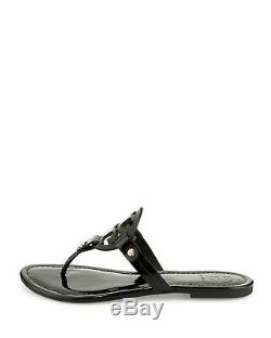 NIB Tory Burch Miller Leather Logo Flat Slide Sandal Thong Black Patent