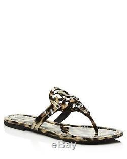 NIB Tory Burch Miller Leather Logo Flat Slide Sandal Thong Leopard
