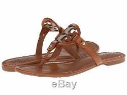 NIB Tory Burch Miller Leather Logo Flat Slide Sandal VINTAGE VACHETTA BROWN TAN