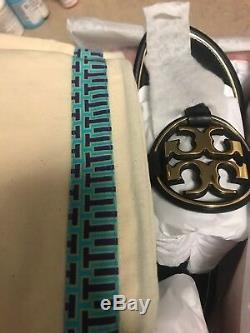 NIB Tory Burch Miller Leather Metal Logo Flat Sandal Thong Black $228